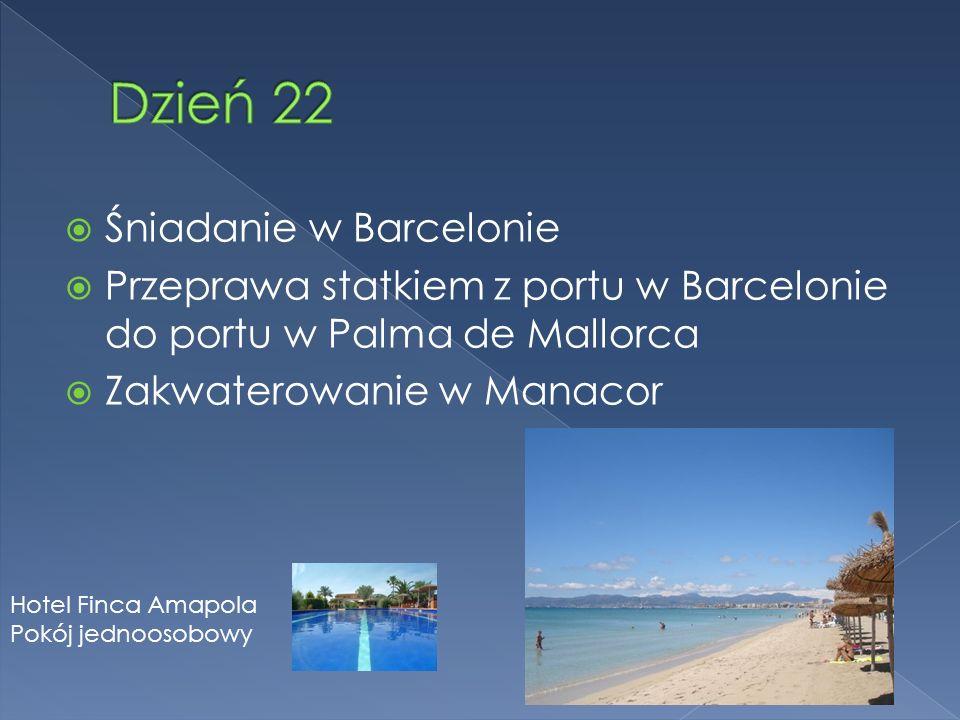 Śniadanie w Barcelonie Przeprawa statkiem z portu w Barcelonie do portu w Palma de Mallorca Zakwaterowanie w Manacor Hotel Finca Amapola Pokój jednoosobowy