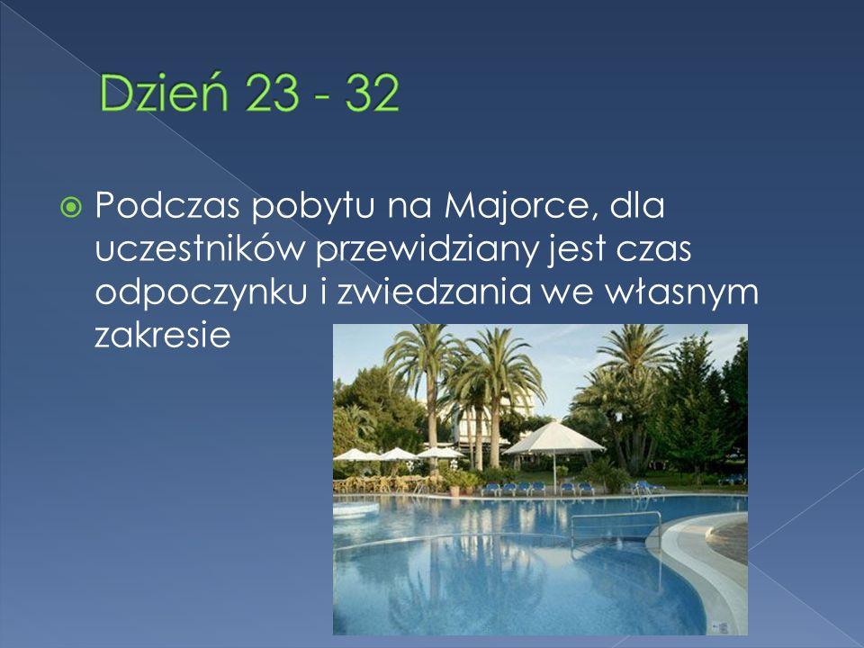 Podczas pobytu na Majorce, dla uczestników przewidziany jest czas odpoczynku i zwiedzania we własnym zakresie