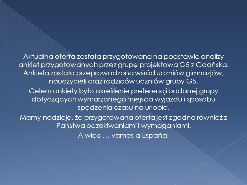 Aktualna oferta została przygotowana na podstawie analizy ankiet przygotowanych przez grupę projektową G5 z Gdańska.