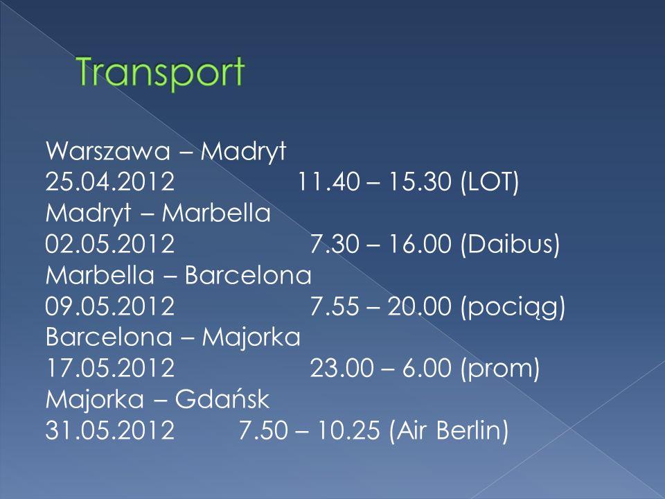Warszawa – Madryt 25.04.2012 11.40 – 15.30 (LOT) Madryt – Marbella 02.05.2012 7.30 – 16.00 (Daibus) Marbella – Barcelona 09.05.2012 7.55 – 20.00 (pociąg) Barcelona – Majorka 17.05.2012 23.00 – 6.00 (prom) Majorka – Gdańsk 31.05.2012 7.50 – 10.25 (Air Berlin)