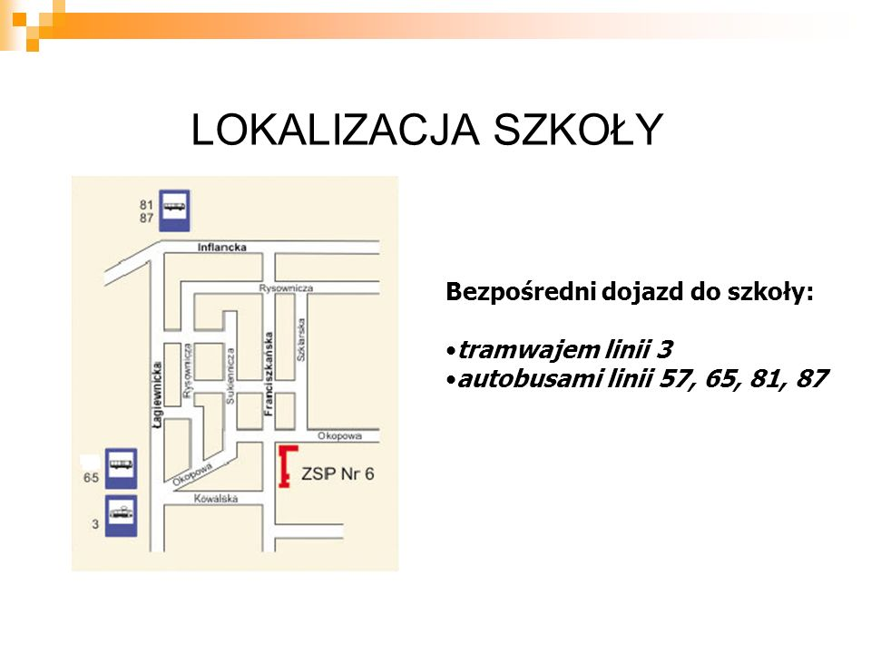 LOKALIZACJA SZKOŁY Bezpośredni dojazd do szkoły: tramwajem linii 3 autobusami linii 57, 65, 81, 87