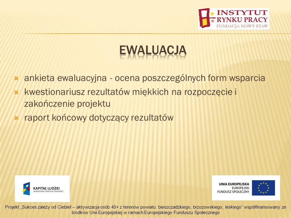 ankieta ewaluacyjna - ocena poszczególnych form wsparcia kwestionariusz rezultatów miękkich na rozpoczęcie i zakończenie projektu raport końcowy dotyczący rezultatów Projekt Sukces zależy od Ciebie.