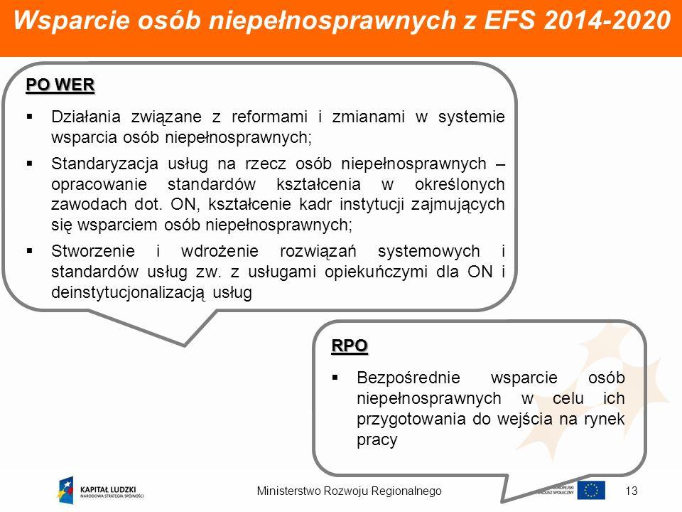 Ministerstwo Rozwoju Regionalnego13 Wsparcie osób niepełnosprawnych z EFS 2014-2020 PO WER Działania związane z reformami i zmianami w systemie wsparc