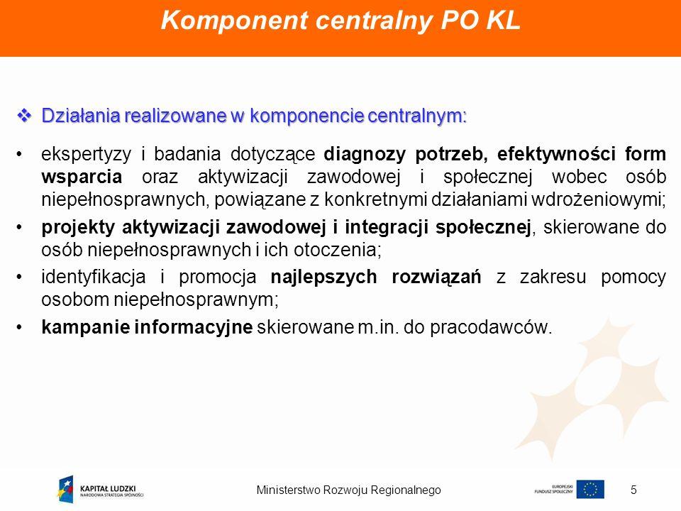 Ministerstwo Rozwoju Regionalnego6 Komponent regionalny PO KL Działania realizowane w komponencie regionalnym: Działania realizowane w komponencie regionalnym: aktywizacja zawodowa osób bezrobotnych oraz biernych zawodowo.