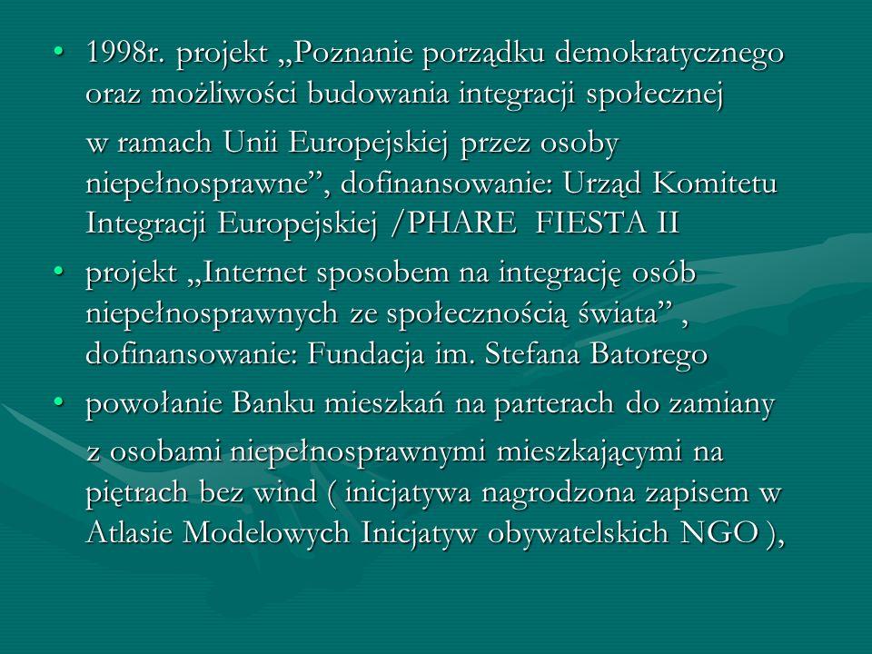 1998r. projekt Poznanie porządku demokratycznego oraz możliwości budowania integracji społecznej1998r. projekt Poznanie porządku demokratycznego oraz