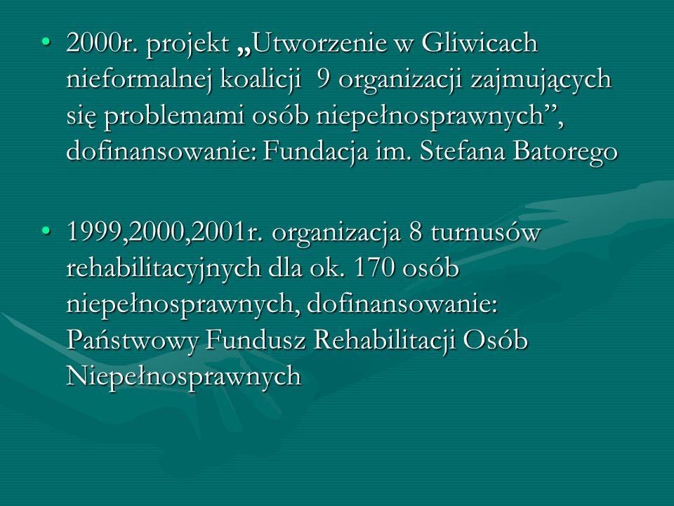 2000r. projekt Utworzenie w Gliwicach nieformalnej koalicji 9 organizacji zajmujących się problemami osób niepełnosprawnych, dofinansowanie: Fundacja