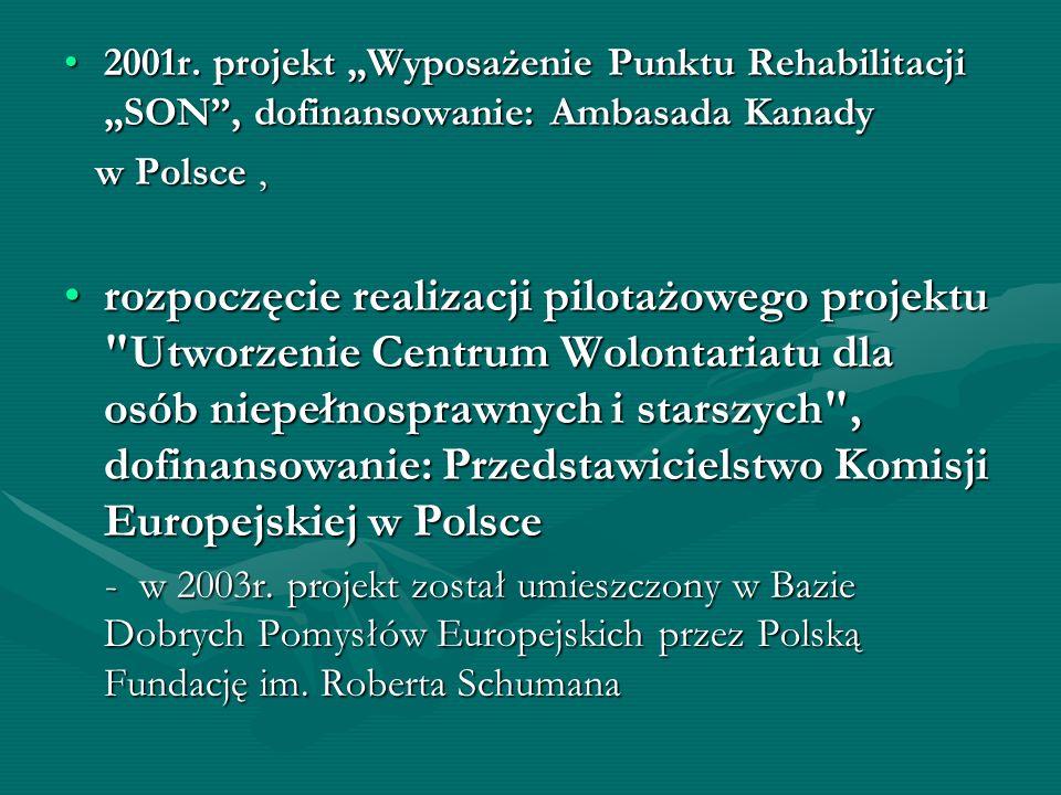 2001r. projekt Wyposażenie Punktu Rehabilitacji SON, dofinansowanie: Ambasada Kanady2001r. projekt Wyposażenie Punktu Rehabilitacji SON, dofinansowani
