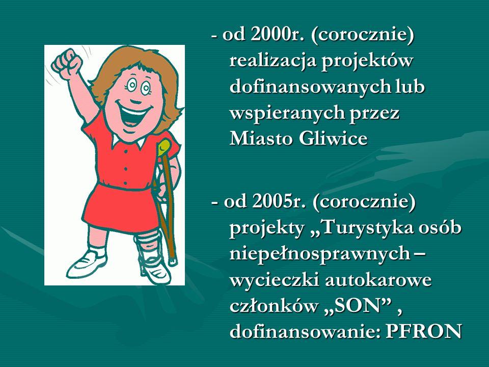 - od 2000r. (corocznie) realizacja projektów dofinansowanych lub wspieranych przez Miasto Gliwice - od 2005r. (corocznie) projekty Turystyka osób niep