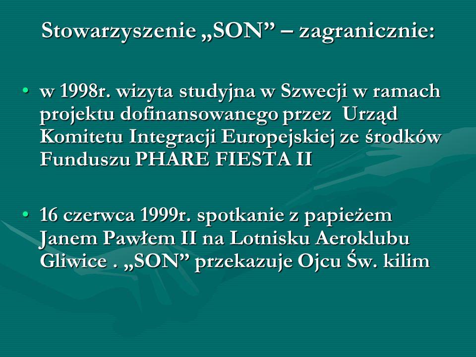 Stowarzyszenie SON – zagranicznie: w 1998r. wizyta studyjna w Szwecji w ramach projektu dofinansowanego przez Urząd Komitetu Integracji Europejskiej z
