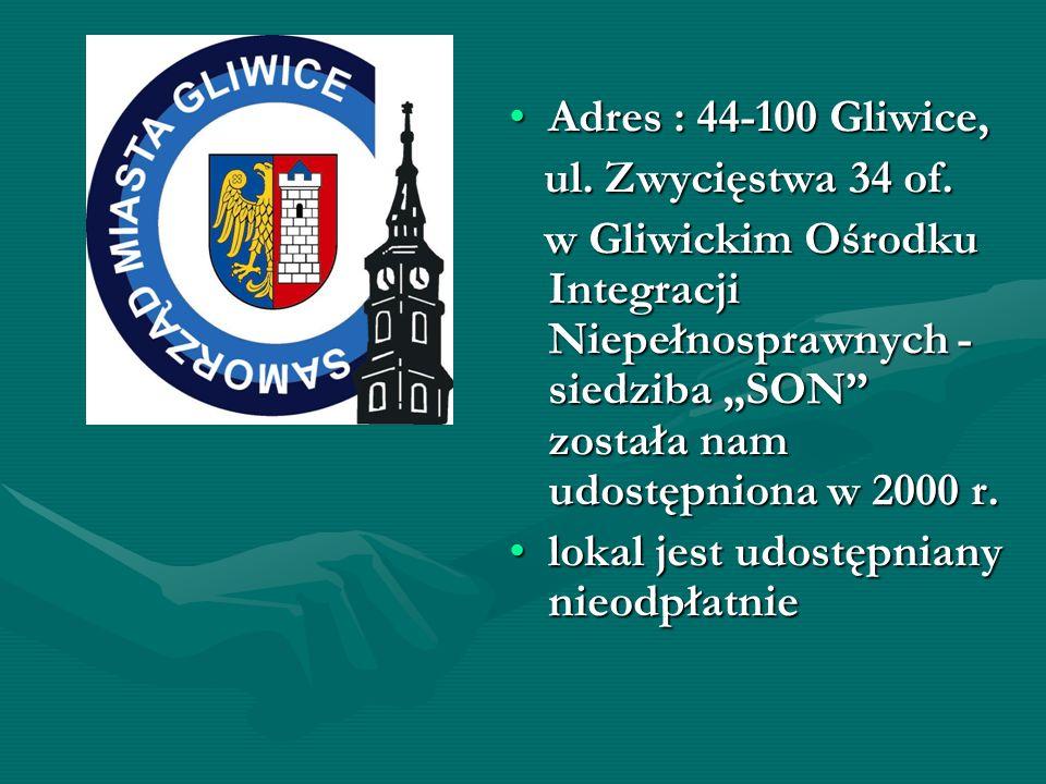 Adres : 44-100 Gliwice,Adres : 44-100 Gliwice, ul. Zwycięstwa 34 of. ul. Zwycięstwa 34 of. w Gliwickim Ośrodku Integracji Niepełnosprawnych - siedziba