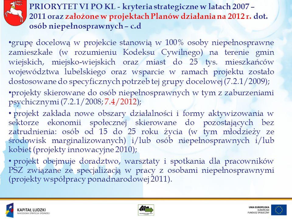 PRIORYTET VI PO KL - kryteria strategiczne w latach 2007 – 2011 oraz założone w projektach Planów działania na 2012 r.
