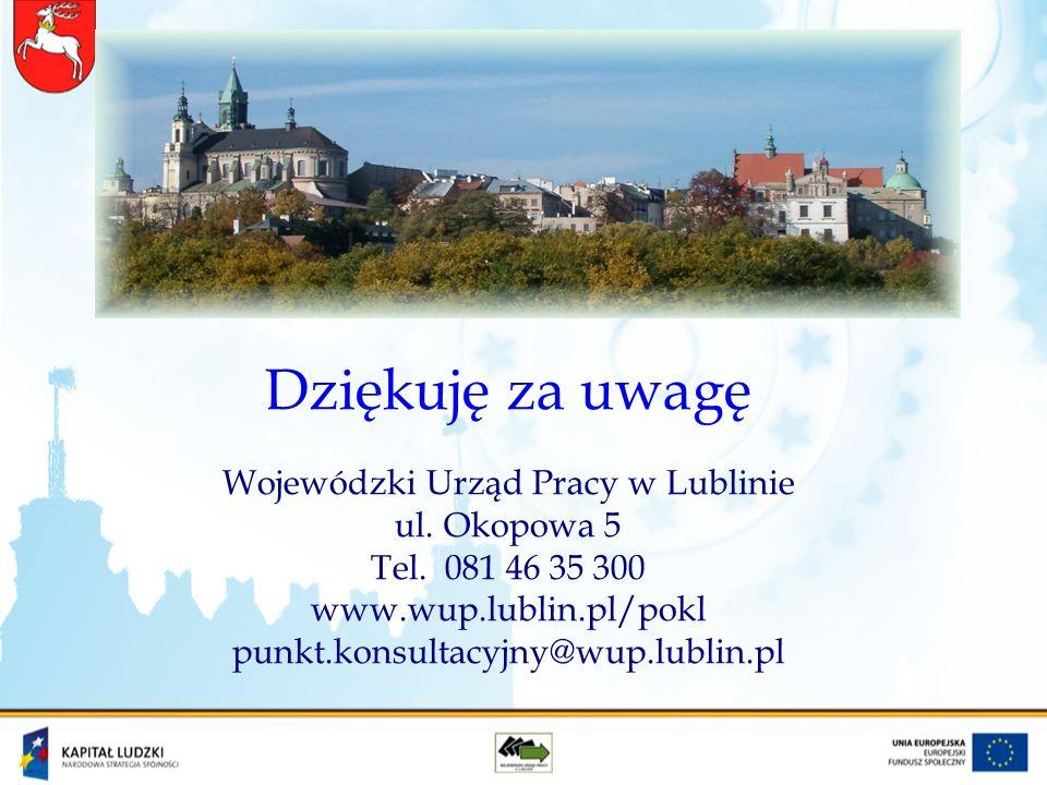 Dziękuję za uwagę Wojewódzki Urząd Pracy w Lublinie ul.