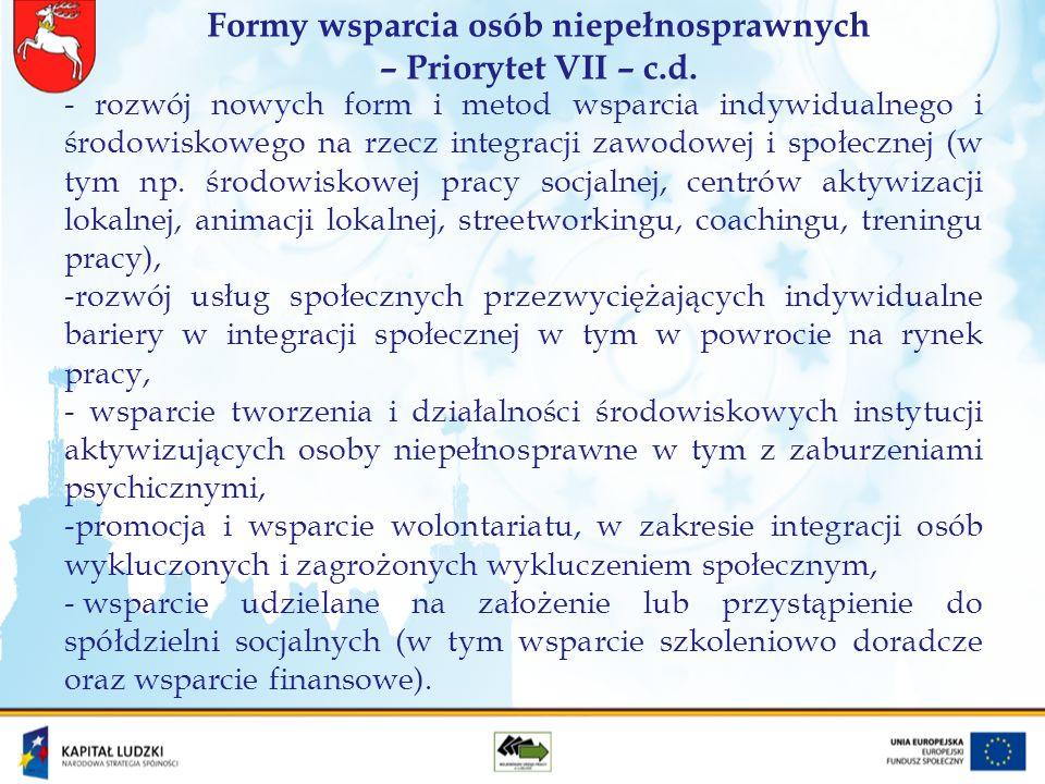 Wsparcie dla osób niepełnosprawnych w ramach Priorytetu VI i VII PO KL W ramach wdrażanych przez WUP w Lublinie Priorytetów VI Rynek pracy otwarty dla wszystkich i VII Promocja integracji społecznej PO KL wspieranie osób niepełnosprawnych tj.