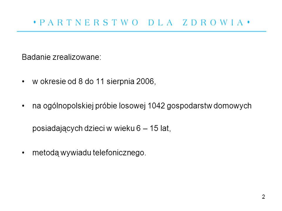 2 Badanie zrealizowane: w okresie od 8 do 11 sierpnia 2006, na ogólnopolskiej próbie losowej 1042 gospodarstw domowych posiadających dzieci w wieku 6