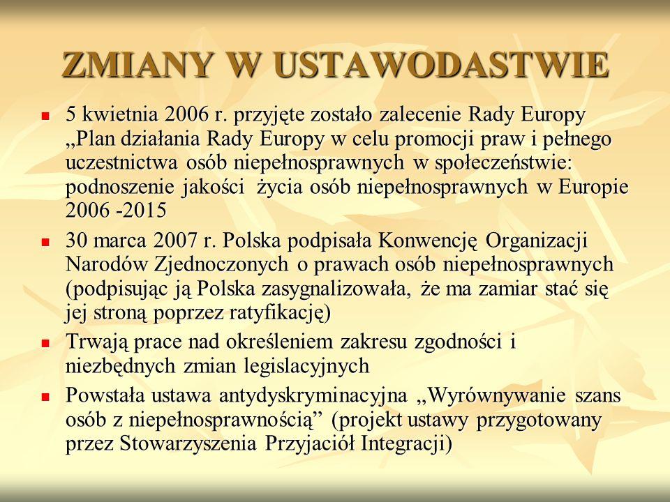 ZMIANY W USTAWODASTWIE 5 kwietnia 2006 r. przyjęte zostało zalecenie Rady Europy Plan działania Rady Europy w celu promocji praw i pełnego uczestnictw