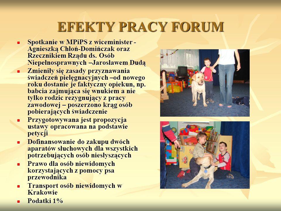 EFEKTY PRACY FORUM Spotkanie w MPiPS z wiceminister - Agnieszką Chłoń-Domińczak oraz Rzecznikiem Rządu ds. Osób Niepełnosprawnych –Jarosławem Dudą Spo