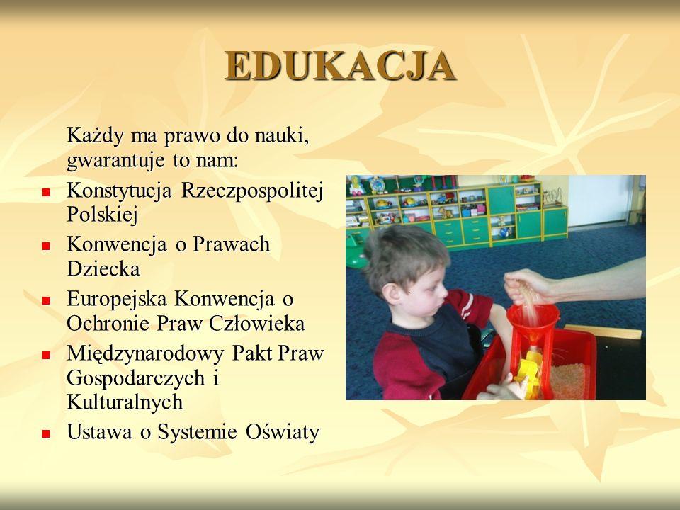 EDUKACJA Każdy ma prawo do nauki, gwarantuje to nam: Konstytucja Rzeczpospolitej Polskiej Konstytucja Rzeczpospolitej Polskiej Konwencja o Prawach Dzi