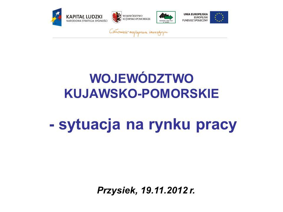 Wysoka skala bezrobocia – w końcu września 2012 roku w województwie było zarejestrowanych 137 300 bezrobotnych, a stopa bezrobocia wyniosła 16,7% (przy średniej krajowej 12,4%); jedynie w Bydgoszczy i Toruniu stopa bezrobocia jest niższa niż średnia krajowa; SYTUACJA NA RYNKU PRACY W WOJEWÓDZTWIE KUJAWSKO-POMORSKIM