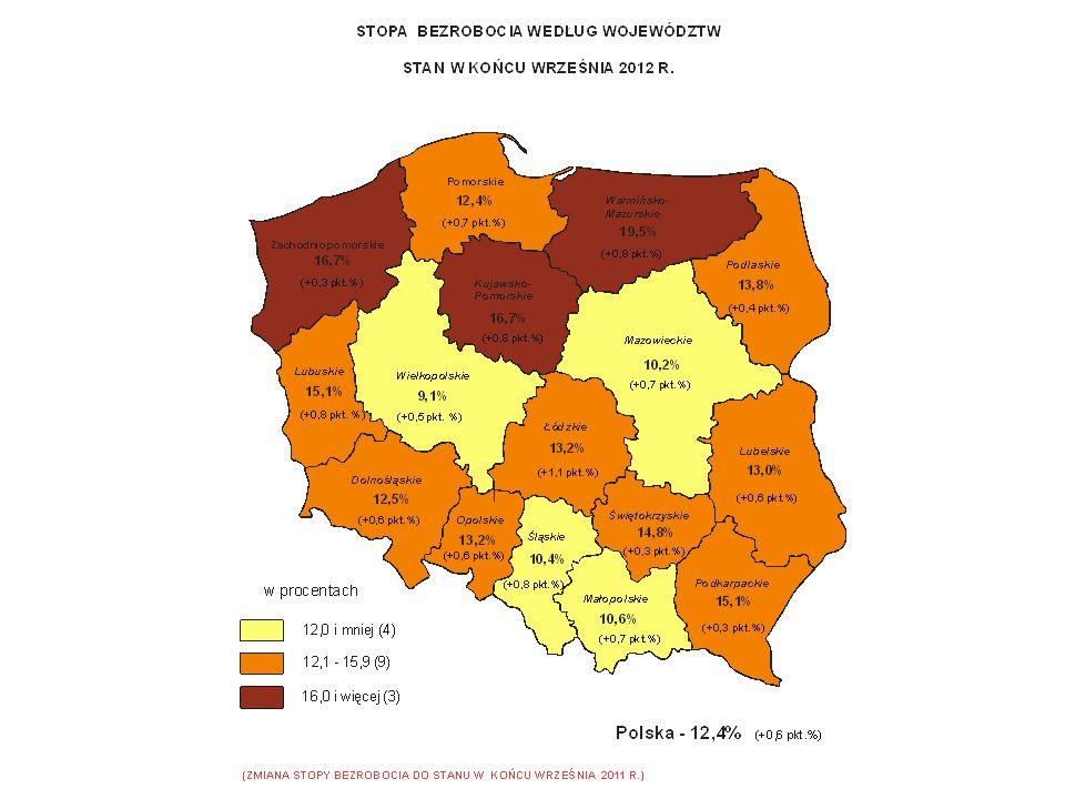 Utrzymujące się wewnętrzne - regionalne zróżnicowanie sytuacji na rynku pracy, (Bydgoszcz, Toruń - reszta województwa).