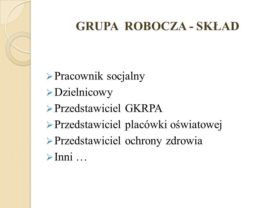 GRUPA ROBOCZA - SKŁAD Pracownik socjalny Dzielnicowy Przedstawiciel GKRPA Przedstawiciel placówki oświatowej Przedstawiciel ochrony zdrowia Inni …