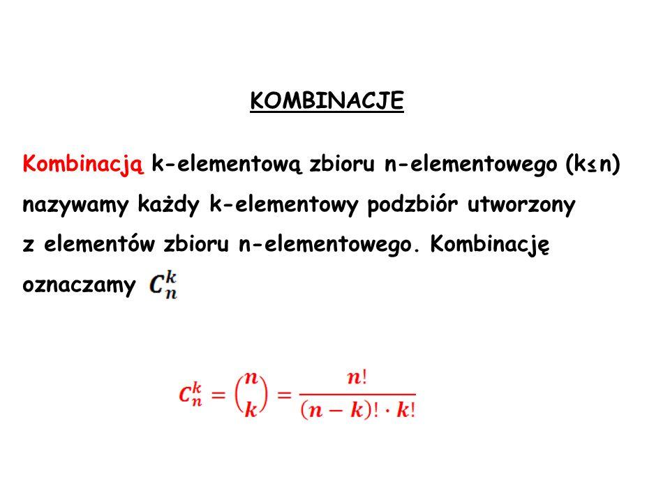 Kombinacją k-elementową zbioru n-elementowego (kn) nazywamy każdy k-elementowy podzbiór utworzony z elementów zbioru n-elementowego. Kombinację oznacz
