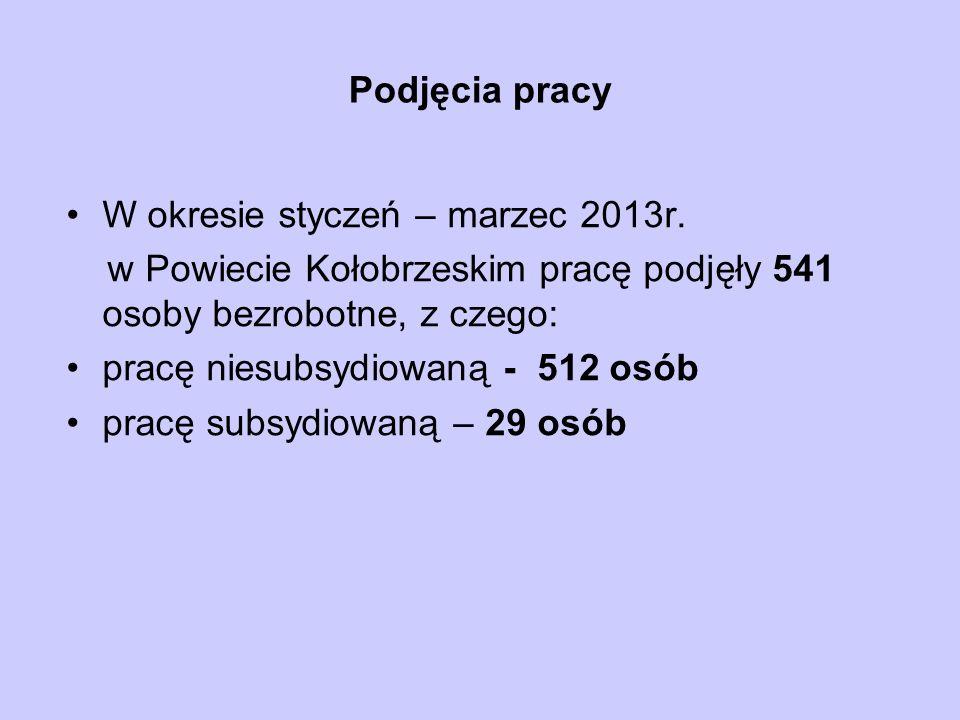 Podjęcia pracy W okresie styczeń – marzec 2013r.