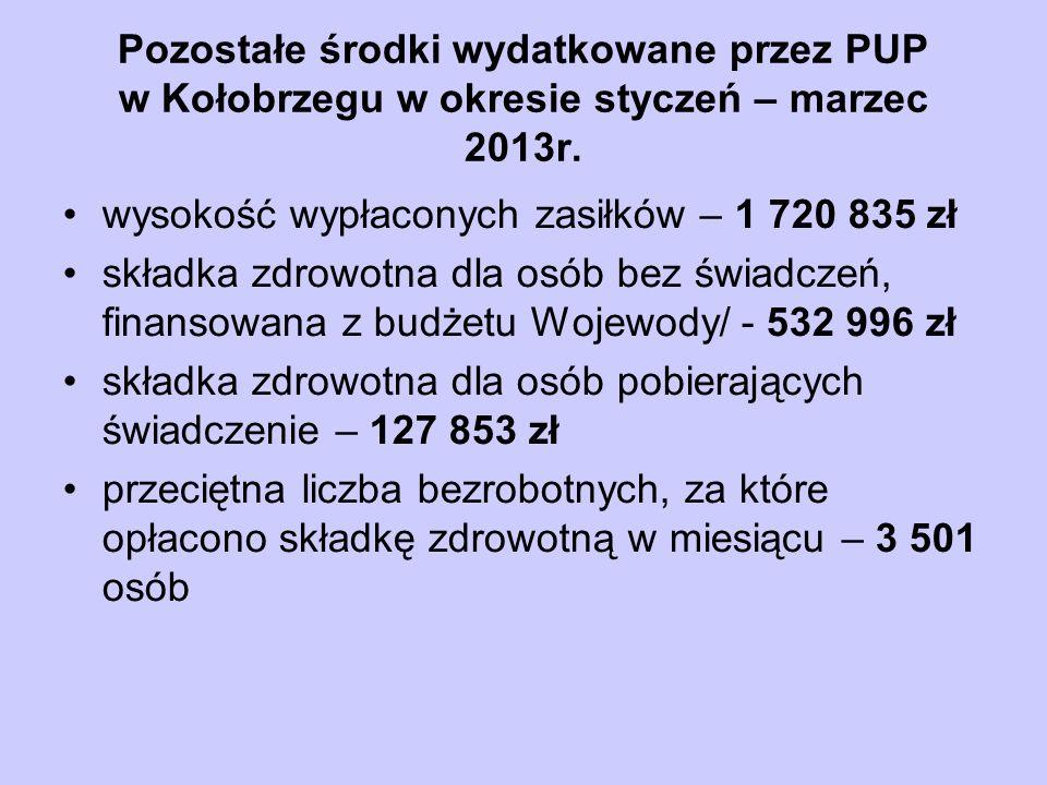 Pozostałe środki wydatkowane przez PUP w Kołobrzegu w okresie styczeń – marzec 2013r.