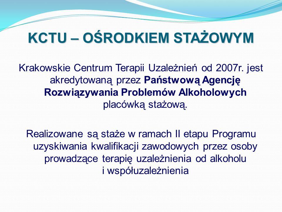 KCTU – OŚRODKIEM STAŻOWYM Krakowskie Centrum Terapii Uzależnień od 2007r. jest akredytowaną przez Państwową Agencję Rozwiązywania Problemów Alkoholowy