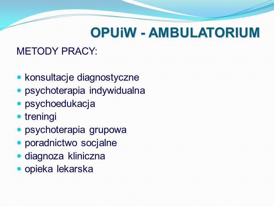 OPUiW - AMBULATORIUM METODY PRACY: konsultacje diagnostyczne psychoterapia indywidualna psychoedukacja treningi psychoterapia grupowa poradnictwo socj