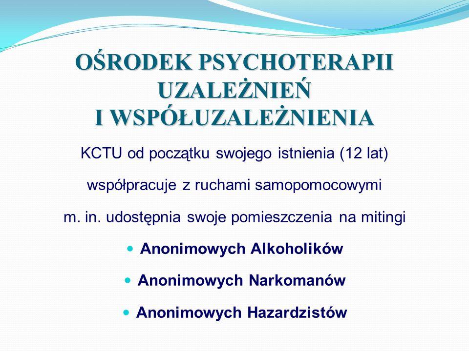 OŚRODEK PSYCHOTERAPII DDA Kompleksowa diagnoza oraz psychoterapia indywidualna i grupowa dla osób, które źródeł swoich bieżących problemów dopatrują się m.in.