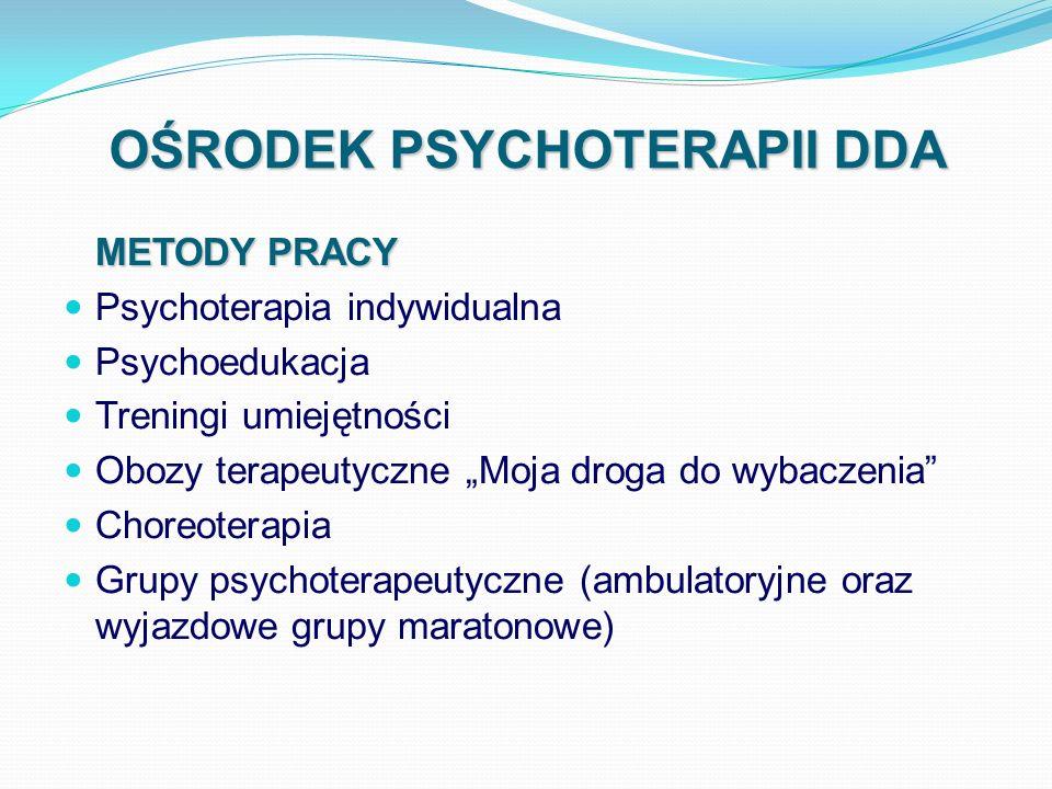 OŚRODEK PSYCHOTERAPII DDA METODY PRACY Psychoterapia indywidualna Psychoedukacja Treningi umiejętności Obozy terapeutyczne Moja droga do wybaczenia Ch