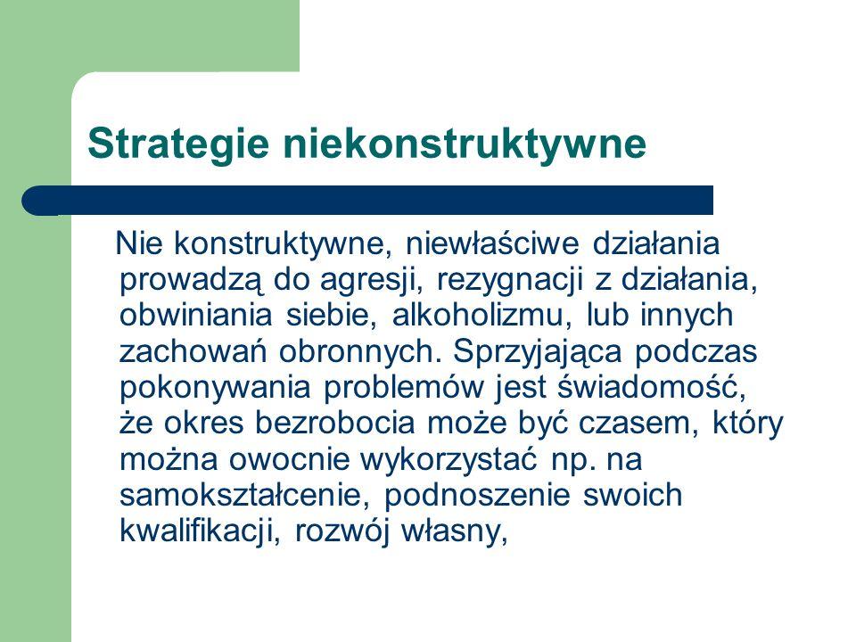 Strategie niekonstruktywne Nie konstruktywne, niewłaściwe działania prowadzą do agresji, rezygnacji z działania, obwiniania siebie, alkoholizmu, lub innych zachowań obronnych.
