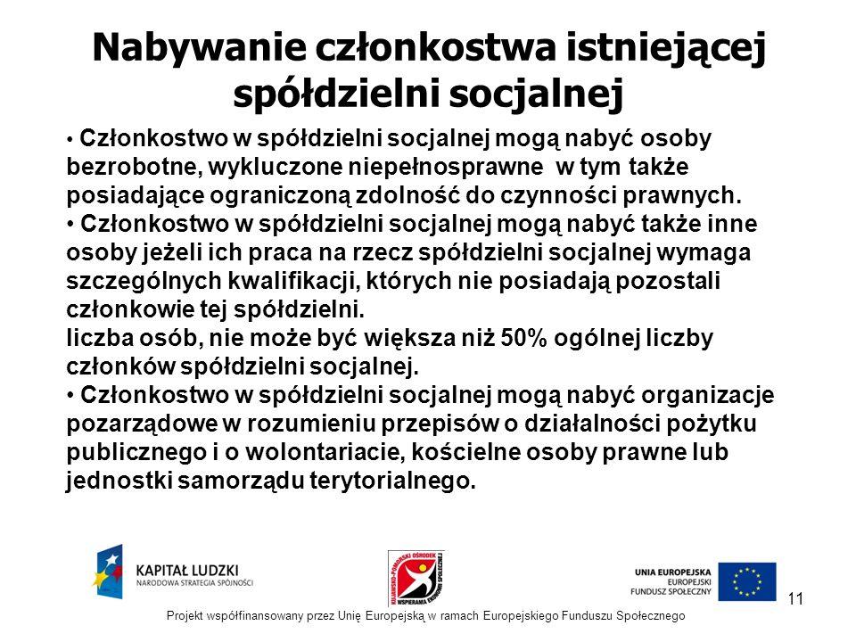 11 Nabywanie członkostwa istniejącej spółdzielni socjalnej Członkostwo w spółdzielni socjalnej mogą nabyć osoby bezrobotne, wykluczone niepełnosprawne w tym także posiadające ograniczoną zdolność do czynności prawnych.