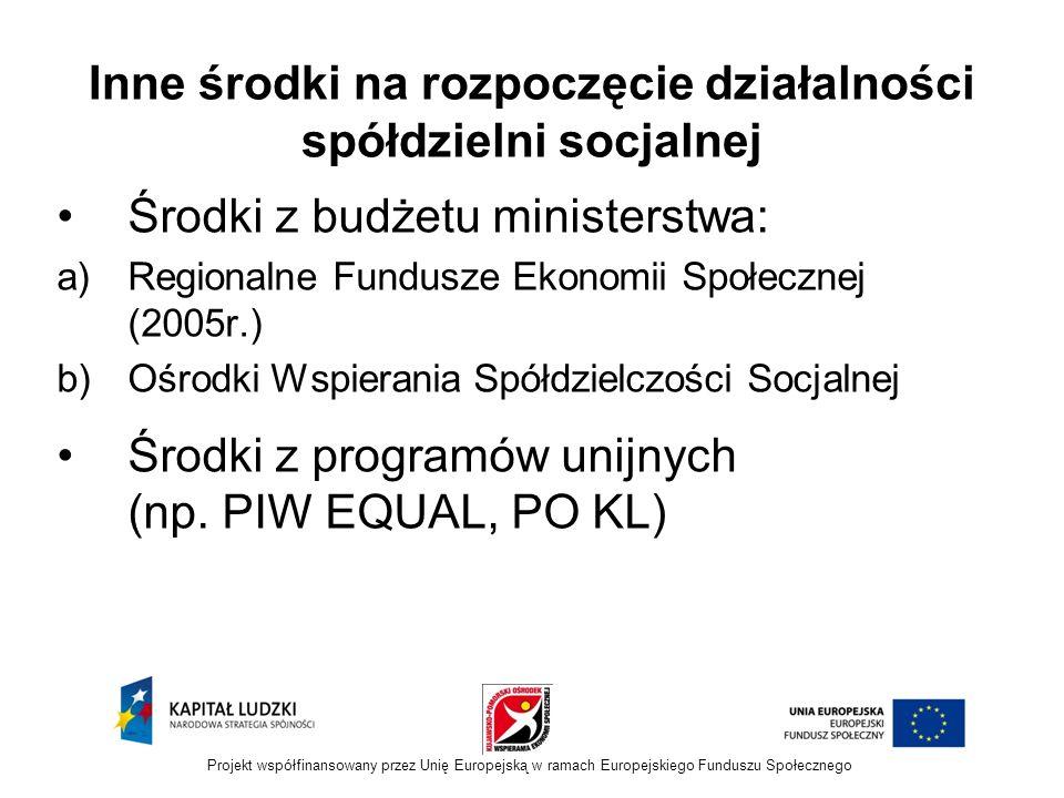 Inne środki na rozpoczęcie działalności spółdzielni socjalnej Środki z budżetu ministerstwa: a)Regionalne Fundusze Ekonomii Społecznej (2005r.) b)Ośrodki Wspierania Spółdzielczości Socjalnej Środki z programów unijnych (np.