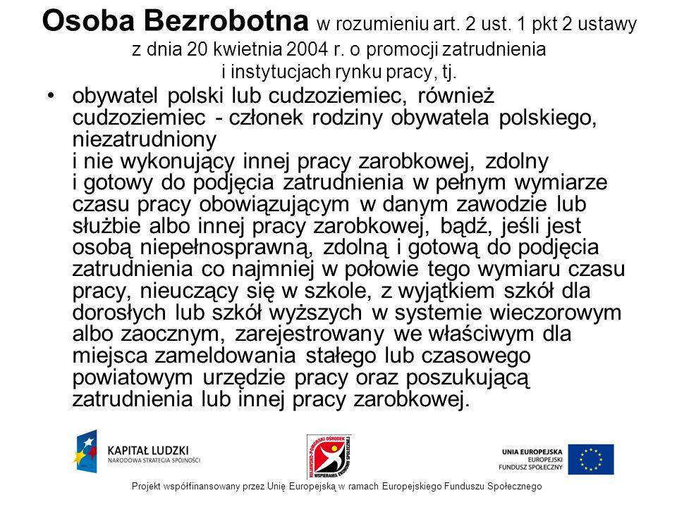 Osoba Bezrobotna w rozumieniu art.2 ust. 1 pkt 2 ustawy z dnia 20 kwietnia 2004 r.