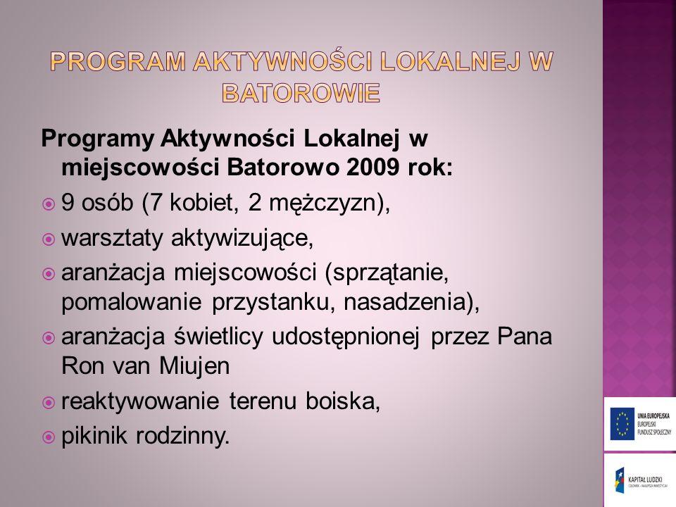 Programy Aktywności Lokalnej w miejscowości Batorowo 2009 rok: 9 osób (7 kobiet, 2 mężczyzn), warsztaty aktywizujące, aranżacja miejscowości (sprzątan