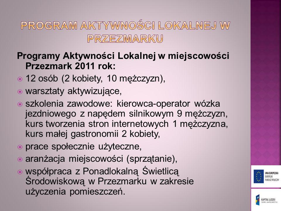 Programy Aktywności Lokalnej w miejscowości Przezmark 2011 rok: 12 osób (2 kobiety, 10 mężczyzn), warsztaty aktywizujące, szkolenia zawodowe: kierowca