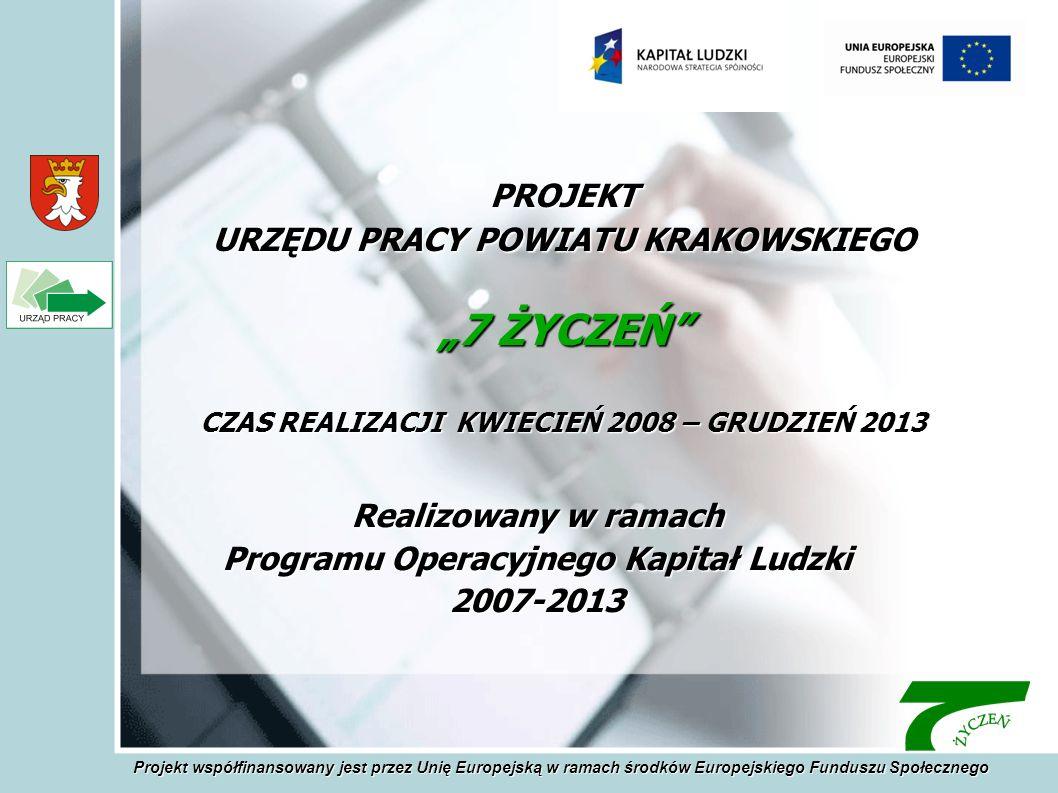 Realizowany w ramach Programu Operacyjnego Kapitał Ludzki 2007-2013 PROJEKT URZĘDU PRACY POWIATU KRAKOWSKIEGO 7 ŻYCZEŃ CZAS REALIZACJI KWIECIEŃ 2008 – GRUDZIEŃ 2013 Projekt współfinansowany jest przez Unię Europejską w ramach środków Europejskiego Funduszu Społecznego