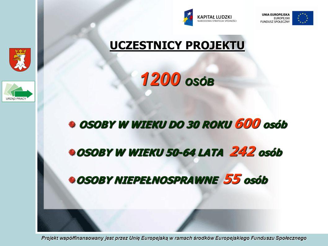 UCZESTNICY PROJEKTU OSOBY W WIEKU DO 30 ROKU 600 osób OSOBY W WIEKU DO 30 ROKU 600 osób OSOBY W WIEKU 50-64 LATA 242 osób OSOBY NIEPEŁNOSPRAWNE 55 osób 1200 OSÓB Projekt współfinansowany jest przez Unię Europejską w ramach środków Europejskiego Funduszu Społecznego