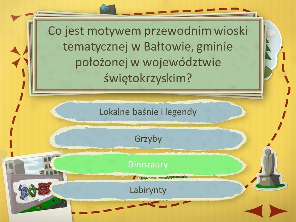 Lokalne baśnie i legendy Grzyby Dinozaury Labirynty Co jest motywem przewodnim wioski tematycznej w Bałtowie, gminie położonej w województwie świętokrzyskim