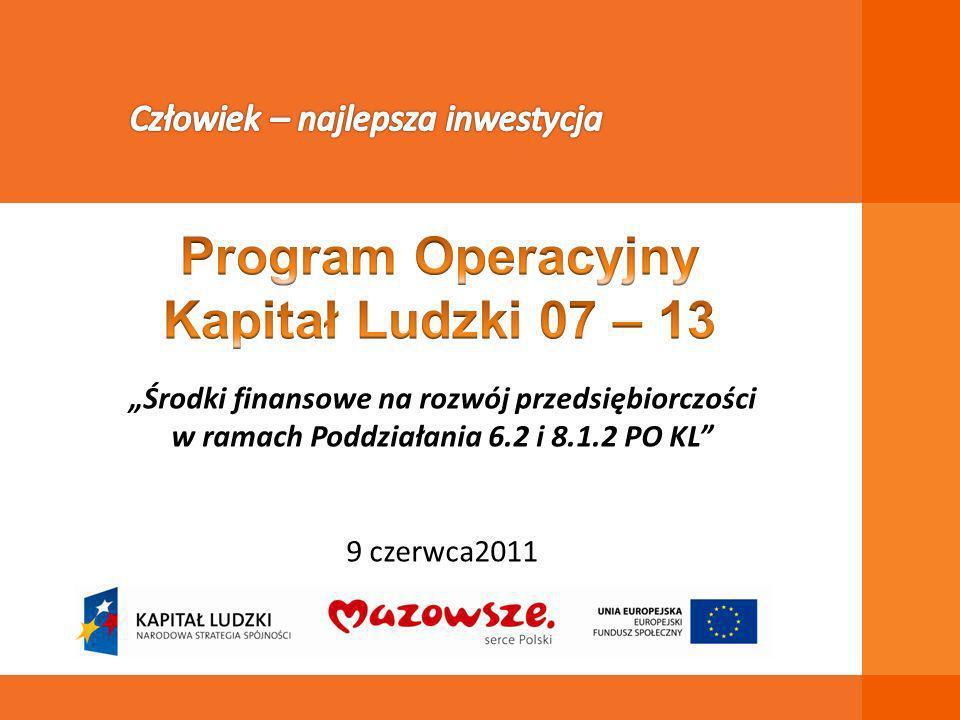 Środki finansowe na rozwój przedsiębiorczości w ramach Poddziałania 6.2 i 8.1.2 PO KL 9 czerwca2011
