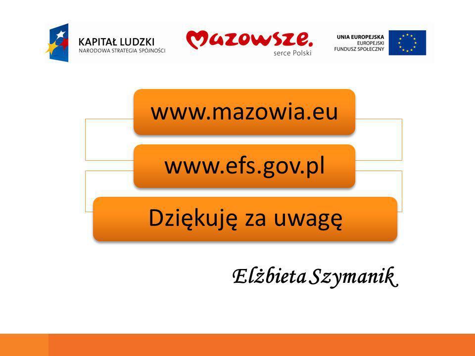 www.mazowia.eu www.efs.gov.pl Dziękuję za uwagę Elżbieta Szymanik