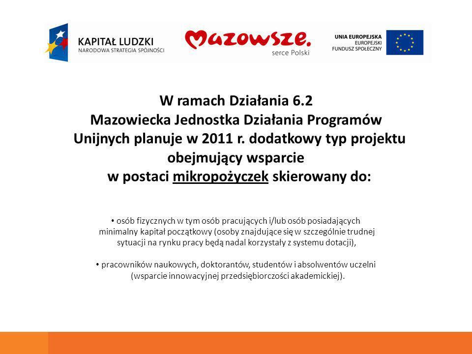 W ramach Działania 6.2 Mazowiecka Jednostka Działania Programów Unijnych planuje w 2011 r.