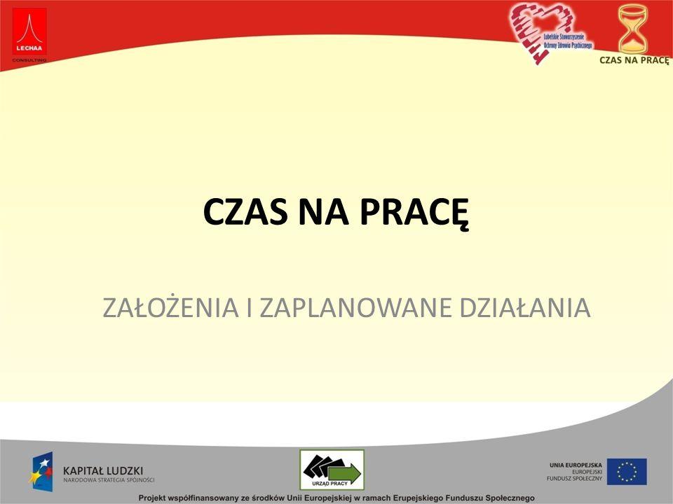 Projekt CZAS NA PRACĘ realizowany jest w ramach Programu Operacyjnego Kapitał Ludzki 2007-2013 Priorytet VII Promocja integracji społecznej Działanie 7.2 Przeciwdziałanie wykluczeniu i wzmocnienie sektora ekonomii społecznej Poddziałanie 7.2.1 Aktywizacja zawodowa i społeczna osób zagrożonych wykluczeniem społecznym.