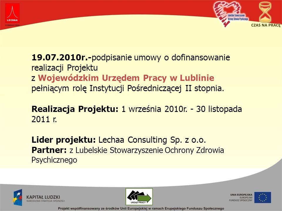 19.07.2010r.-podpisanie umowy o dofinansowanie realizacji Projektu z Wojewódzkim Urzędem Pracy w Lublinie pełniącym rolę Instytucji Pośredniczącej II stopnia.