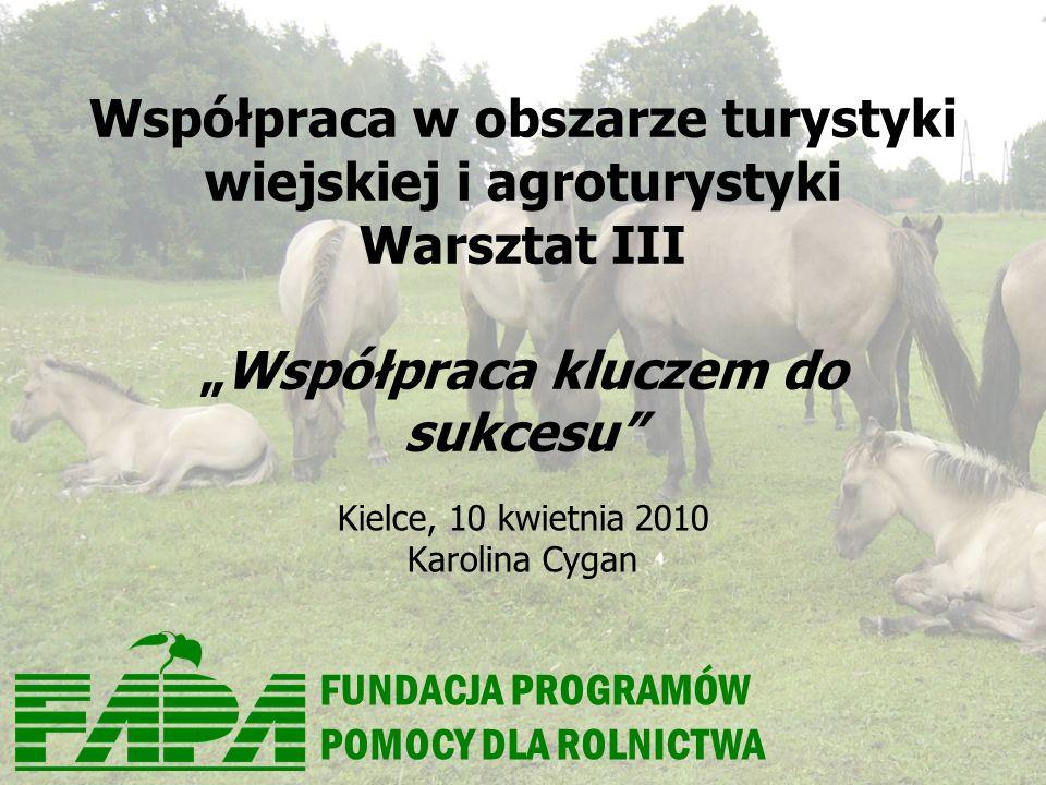 FUNDACJA PROGRAMÓW POMOCY DLA ROLNICTWA Współpraca w obszarze turystyki wiejskiej i agroturystyki Warsztat IIIWspółpraca kluczem do sukcesu Kielce, 10 kwietnia 2010 Karolina Cygan
