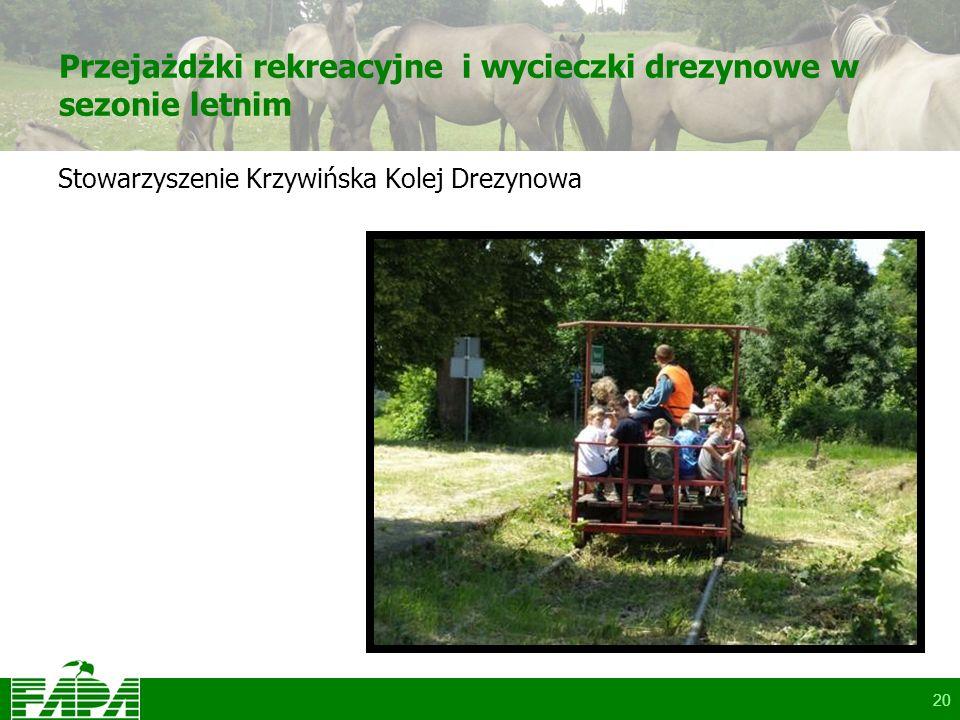 20 Przejażdżki rekreacyjne i wycieczki drezynowe w sezonie letnim Stowarzyszenie Krzywińska Kolej Drezynowa