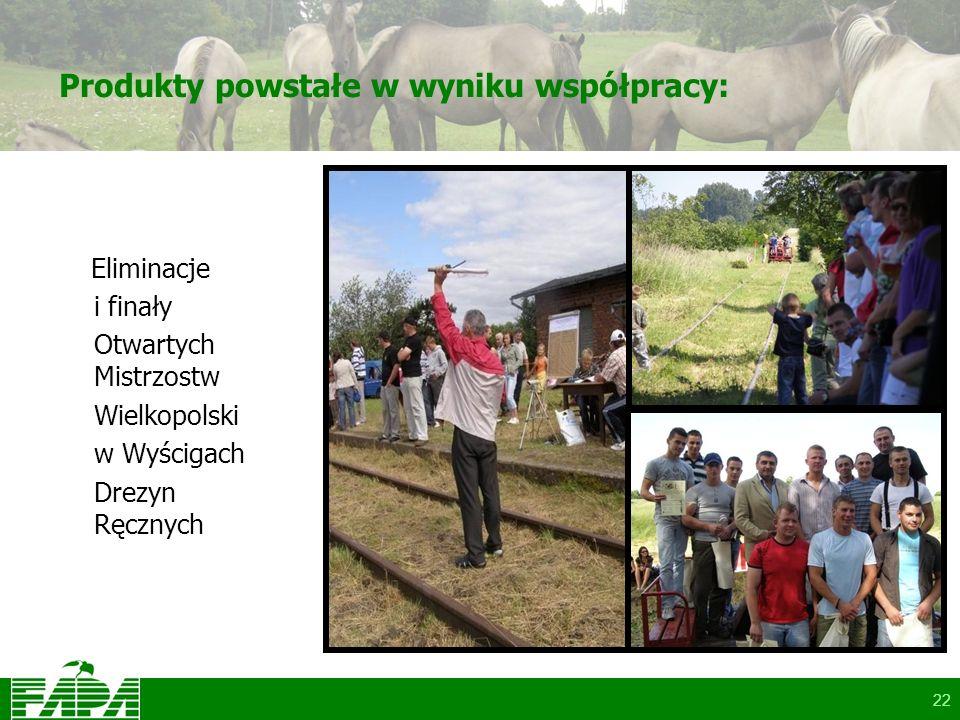 22 Produkty powstałe w wyniku współpracy: Eliminacje i finały Otwartych Mistrzostw Wielkopolski w Wyścigach Drezyn Ręcznych