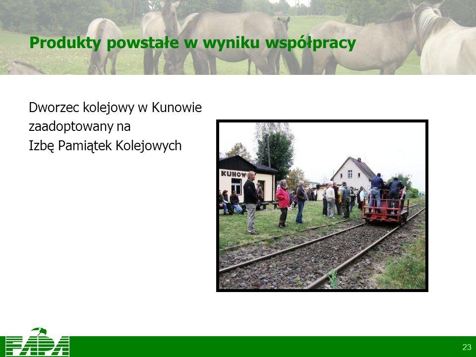 23 Produkty powstałe w wyniku współpracy Dworzec kolejowy w Kunowie zaadoptowany na Izbę Pamiątek Kolejowych