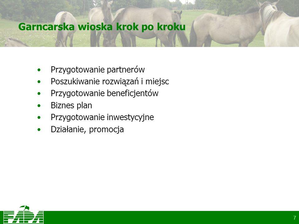 7 Garncarska wioska krok po kroku Przygotowanie partnerów Poszukiwanie rozwiązań i miejsc Przygotowanie beneficjentów Biznes plan Przygotowanie inwestycyjne Działanie, promocja